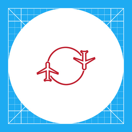 Icon of two airplanes moving round circle