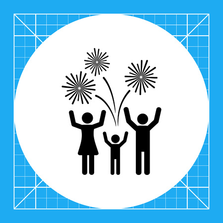 Three cheering people and firework. Celebration, night, event. Firework concept. Can be used for topics like festivals, New Year, entertainment.