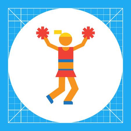 Icon of teenage cheerleader girl holding pom poms