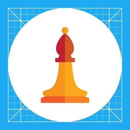 Multicolored vector icon of orange chess bishop
