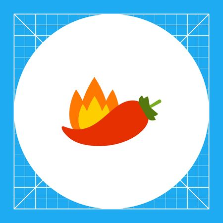 Multicolored vector icon of chili pepper and flame