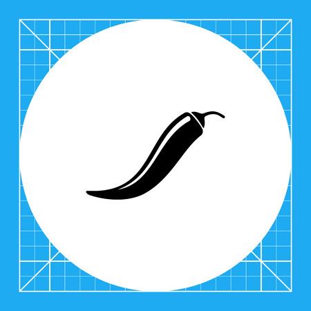 pimento: Monochrome vector icon of long curved chili pepper pod Illustration