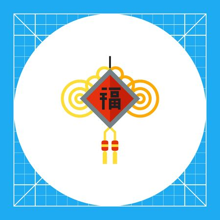 Multicolored vector icon of Chinese New Year amulet with wishes and knots Illustration