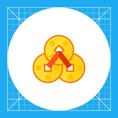 chinese knot: Multicolored vector icon of Chinese coins of happiness Illustration