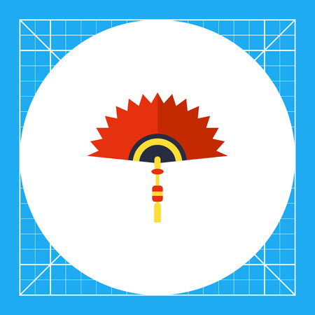 Multicolored vector icon of Chinese folding fan