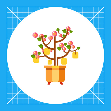pink and brown background: Multicolored vector icon of Chinese New Year peach tree with packets with wishes
