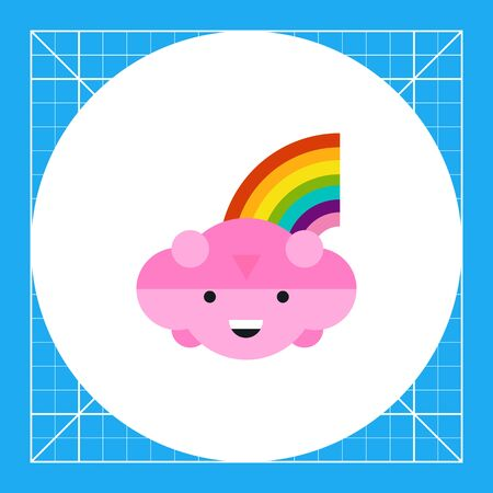 Multicolored vector icon of smiling cloud with rainbow Illustration