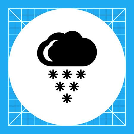 precipitation: Icon of cloud and falling snowflakes
