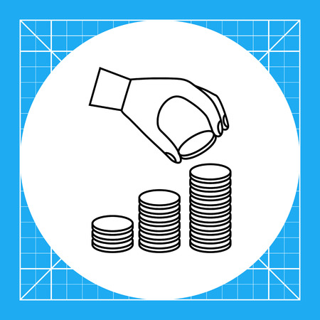 putting: Icon of man's hand putting coin  onto coin stack