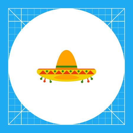 Colorful sombrero. Mexican, protection, broad-brimmed. Headwear concept.