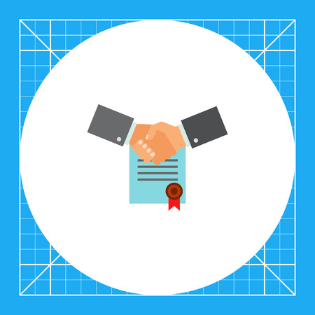 concluding: Multicolored icon of two shaking man hands on background of signed contract with red seal representing business commitment