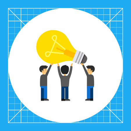 People having common idea. Team, collaboration, solution. Common idea concept. Can be used for topics like business, teamwork, management. Illustration
