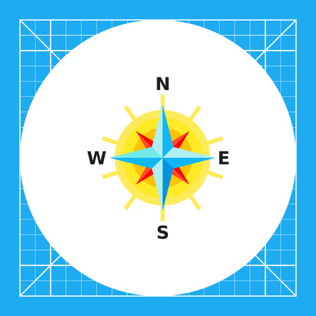 Compass rose with directions representing cartography concept
