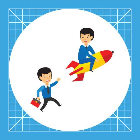 pursuing: Businessman on rocket and another businessman pursuing him.