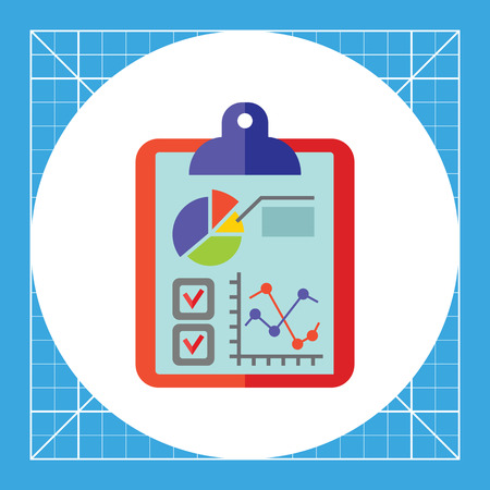 dealings: Business data, graph, diagram and quiz on clipboard. Illustration