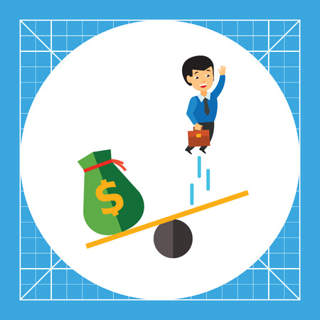 see saw: Businessman jumping on see saw and money bag. Project, investment, idea. Business startup concept. Can be used for topics like business, technology, marketing. Illustration