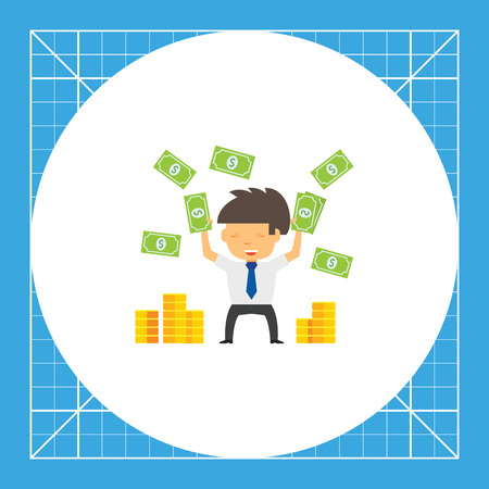 colourful tie: Man throwing dollar banknotes up, stacks of coins. Illustration