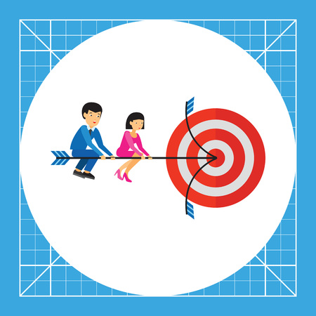 hitting: Businessman and businesswoman sitting on arrow and hitting target.