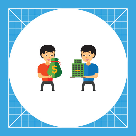 Two men holding money bag and building