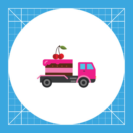 confectionery: Cake delivered by truck. Sweet, party, fast. Food delivery concept. Can be used for topics like cooking, confectionery, food, transport.