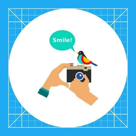 Hands holding old vintage photo camera with cartoon bird. Camera and bird, taking photo, smile. Photography concept. Can be used for topics like photography, photo equipment, hobby