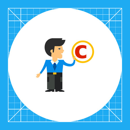 Man holding copyright sign. Copyright, law, intellectual property. Copyright concept. Can be used for topics like law, copyright, exclusive rights Illustration