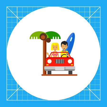 cabriolet: Male and female characters travelling in cabriolet. Coast, sea, surfing. Cabriolet concept. Can be used for topics like summer, vacation, travel. Illustration