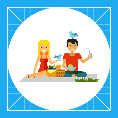 Happy woman and man on picnic. Nature, food, fun. Picnic concept. Can be used for topics like summer, vacation, leisure. Vectores