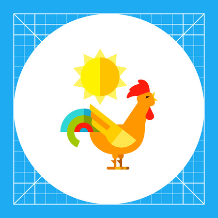 Crazy rooster crowing in daytime. Colorful, loud, tail. Rooster concept. Can be used for topics like zoology, domestic animals, astrology.