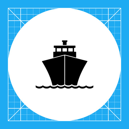 cruise liner: Monochrome vector icon of passenger cruise liner riding on waves