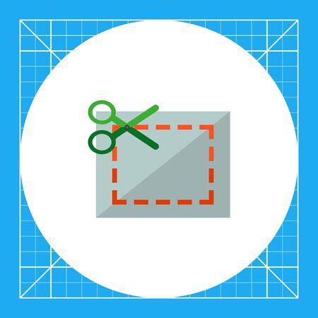 scissors cutting paper: Multicolored vector icon of scissors cutting paper in dotted line, isolated on white
