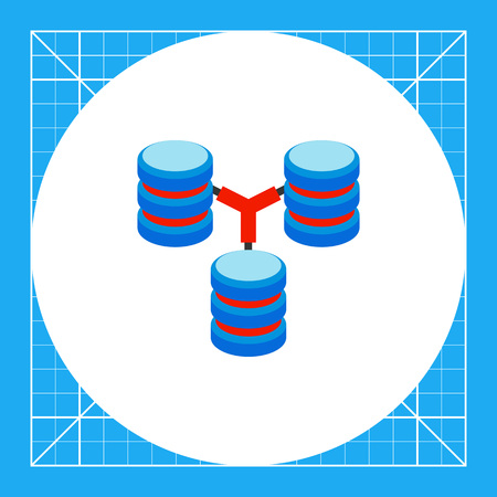 Three connected stacks of discs. Digital, data, storage. Database concept. Can be used for topics like programming, Internet, technology.