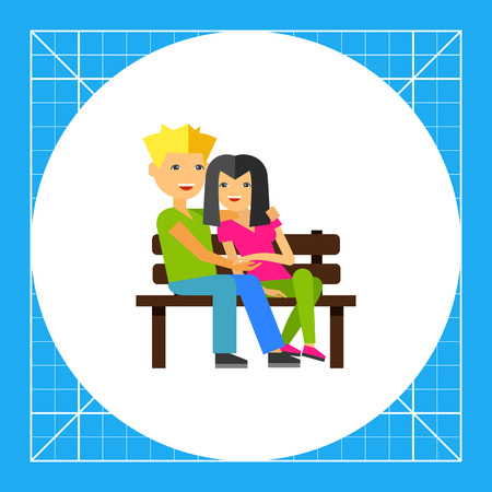 Happy couple dating on bench. Feelings, meeting, happiness. Romance concept. Can be used for topics like relations, psychology, business.