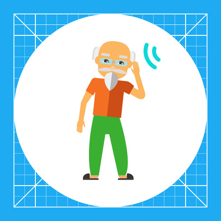 Deaf old man trying to hear sound. Disability, disease, aid. Deafness concept. Can be used for topics like disability, care, medicine. Vectores