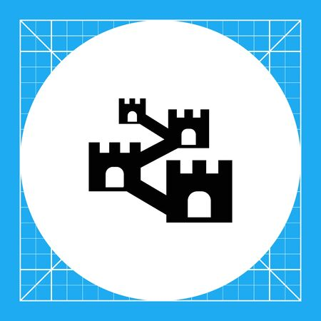 Vector icon of defensive wall with towers Stock Vector - 67834428