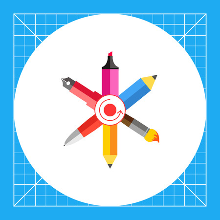 Icon of crossed ink pen, ball pen, pencil, paint brush, highlighter with dot and arrow circle in center Illustration