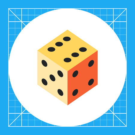 Multicolored vector icon of dice with number six, five, four