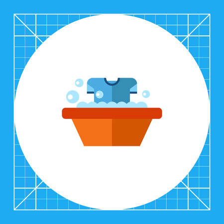dirty t shirt: Dirty t-shirt being washed in wash basin. Textile, suds, clean. Washing concept. Can be used for topics like chemistry, housekeeping, marketing. Illustration
