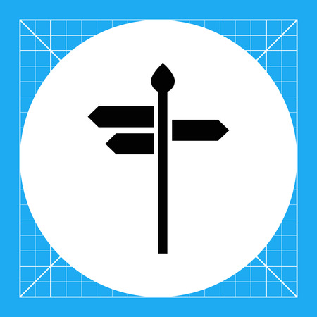 Vector icon of direction sign with arrow boards showing various directions Illustration