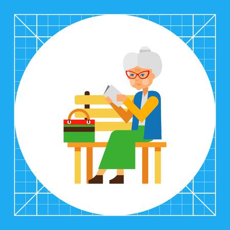 soledad: Anciana sentada sola en el parque. La soledad, la edad, la edad, la gente, la lectura. Concepto de la soledad. Puede ser utilizado para temas como las personas de edad, la soledad, la edad Vectores