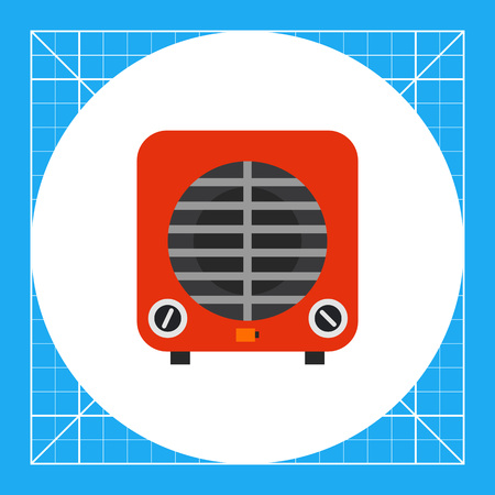 Multicolored vector icon of red electric cooler