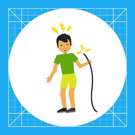 electric shock: Ilustración del hombre de conseguir una descarga eléctrica desde el cable. Accidente, electricidad, peligro. concepto de descarga eléctrica. Puede ser utilizado para temas como la electricidad, accidentes, seguridad en el trabajo
