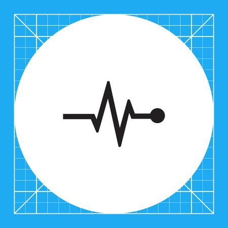 electrocardiograma: Icono del vector del gráfico de electrocardiograma que indica el ritmo cardíaco