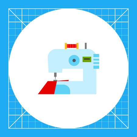 Electric sewing machine with fabric. Clothing, skill, stitch. Sewing concept. Can be used for topics like fashion, technology, tailoring.