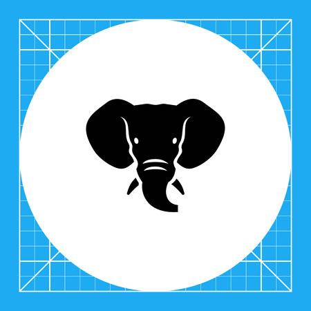 tusks: Vector icon of black elephant head silhouette