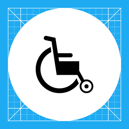 invalid: Invalid chair. Aid, care, disability. Disabled concept. Can be used for topics like medicine, health, technology. Illustration
