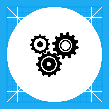 Monochrome vector icon of several gears of one mechanism representing engineering concept