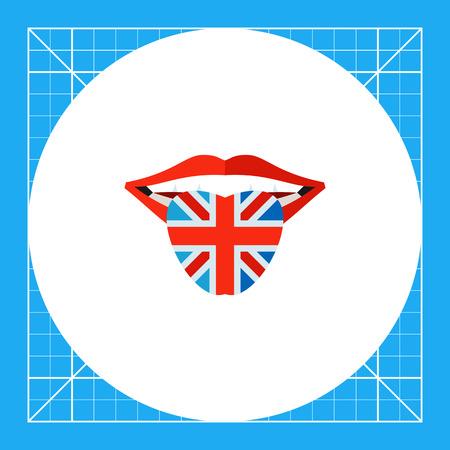 bandera de gran bretaña: la boca abierta con la lengua de color en la bandera de Gran Bretaña. Hablar, aprender, nacional. concepto del lenguaje Inglés. Puede ser utilizado para temas como Inglaterra, historia, idiomas.