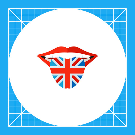 the topics: Open mouth with tongue colored in Great Britain flag. Speaking, learning, national. English language concept. Can be used for topics like England, history, languages. Illustration
