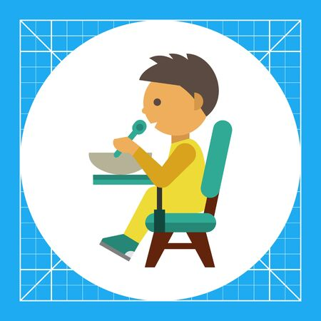 Multicolored vector icon of boy sitting at table and eating Illustration